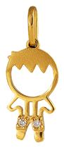Pingente de Ouro 18k de Menino com Ródio