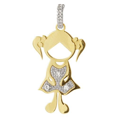 Pingente de Ouro 18k de Menina com Diamantes.