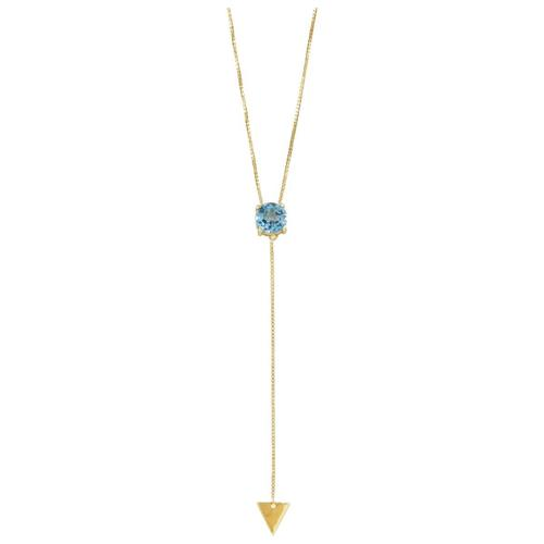 Pingente de Ouro 18k com Topázio Azul
