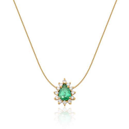 Pingente de Ouro 18k com Esmeralda e Diamante