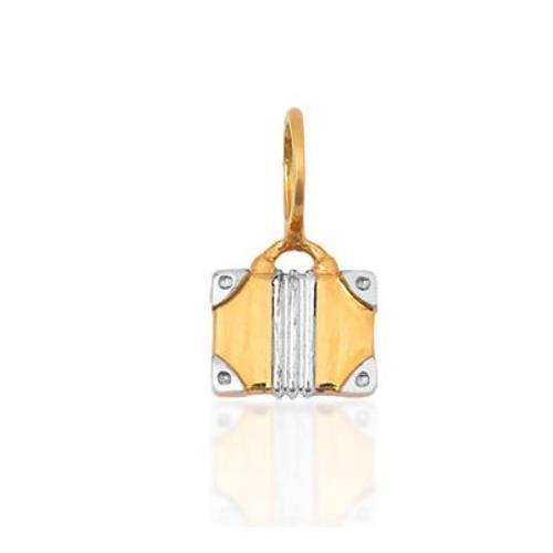Pingente de Ouro 18k Charms de Mala de Viagem