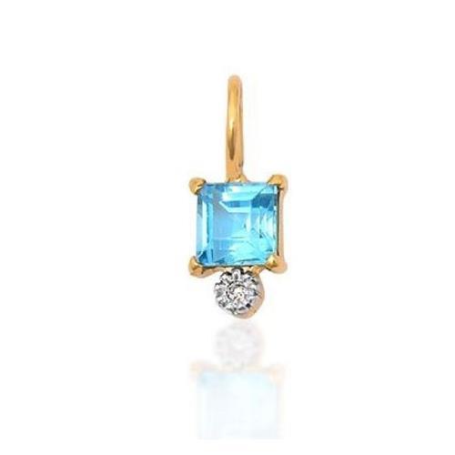 Pingente de Ouro 18k Charms com Topázio Azul e Diamante