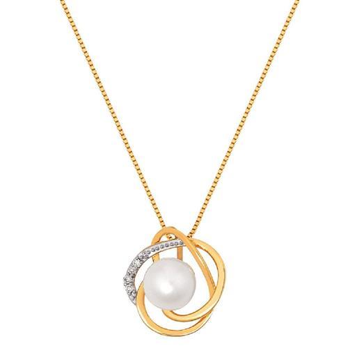Pingente de Ouro 18k com Pérola e Diamante