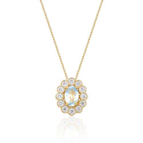 Pingente de Ouro 18k com Topázio e Diamante