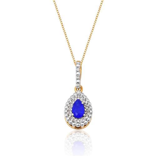 Pingente de Ouro 18k com Jade Azul e Diamante