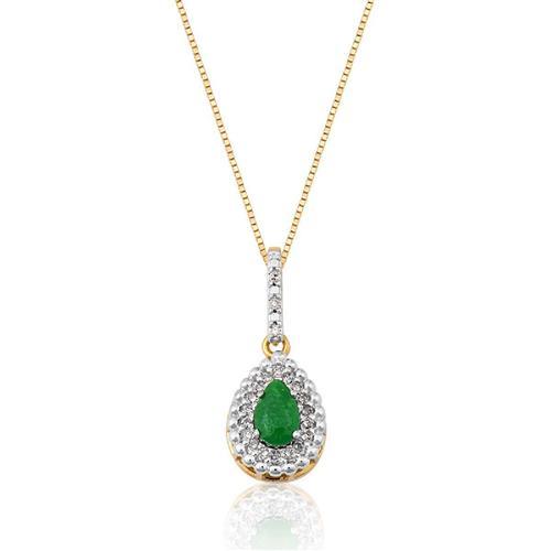 Pingente de Ouro 18k com Jade Verde e Diamante