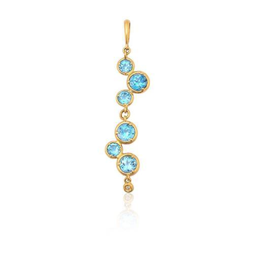 Pingente de Ouro 18k com Topázio Azul e Diamante