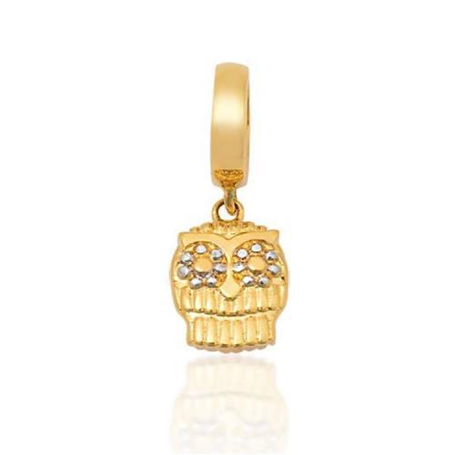 Pingente de Ouro 18k Charms de Coruja