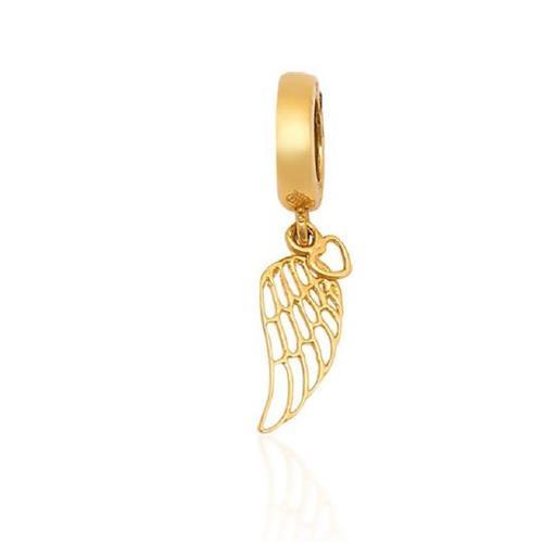 Pingente de Ouro 18k Charms de Asa e de Coração