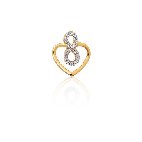 Pingente de Ouro 18k de Coração Infinito com Diamante