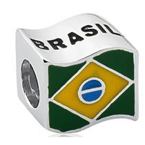 Pingente de Prata 925 Charms de Bandeira do Brasil