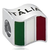 Pingente de Prata 925 Charms de Bandeira da Itália