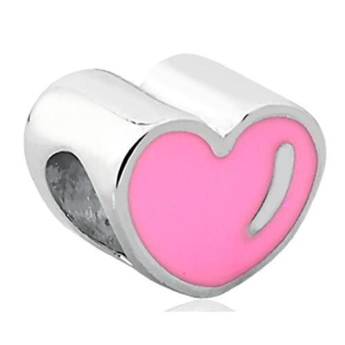 Pingente de Prata 925 Charms de Coração Rosa