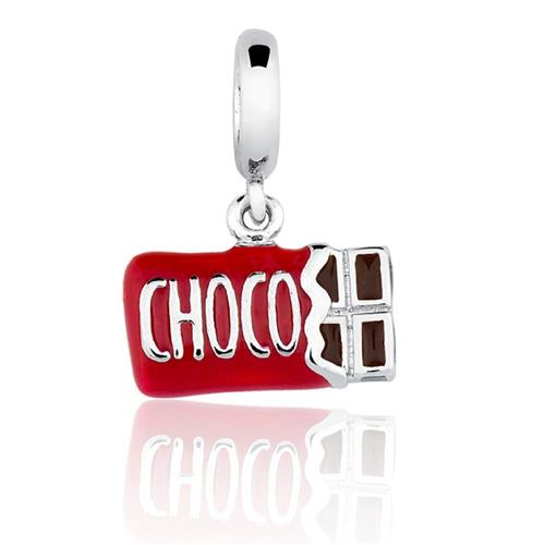 Pingente de Prata 925 Charms de Barra de Chocolate