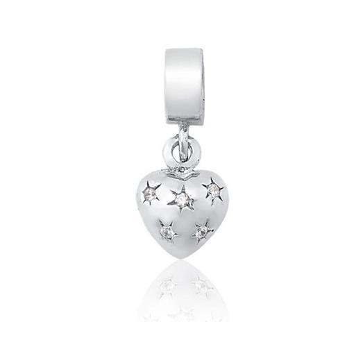 Pingente de Prata 925 Charms de Coração com Zircônias