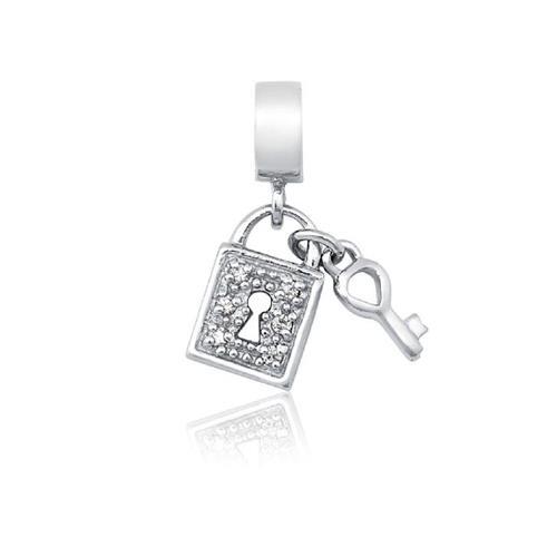 Pingente de Prata 925 Charms de Cadeado com Chave e Zircônia