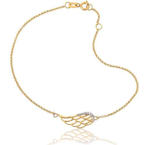 Pulseira de Ouro 18k Asa com Diamante