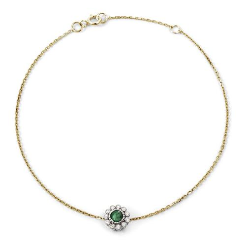 Pulseira de Ouro 18k com Esmeralda e Diamante
