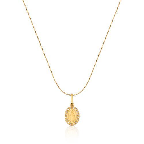 Pingente de Ouro 18k de N. S. Milagrosa com Diamante
