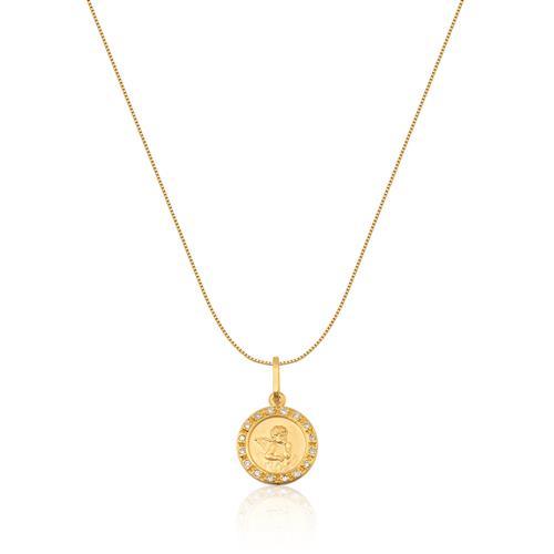 Pingente de Ouro 18k de Anjo com Diamante