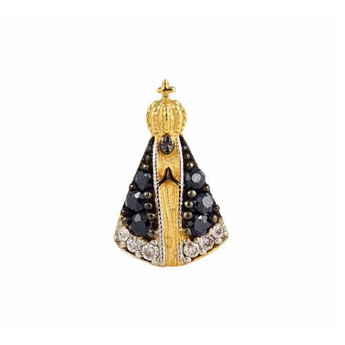 Pingente de Ouro 18k de N. S. Aparecida com Diamante e Safira