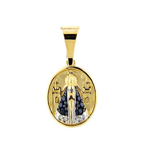 Pingente de Ouro 18k de N. S. Aparecida com Safira e Diamante