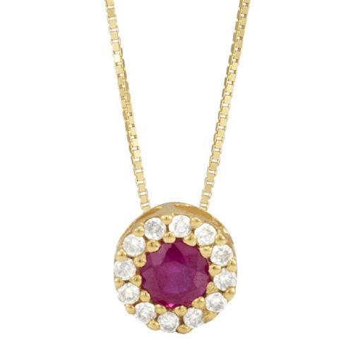 Pingente de Ouro 18k com Rubi e Diamante