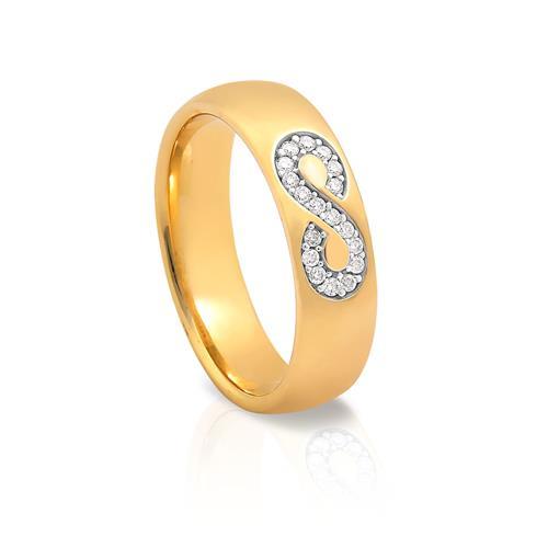 Aliança de Ouro 18k de Infinito com Diamante