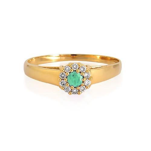 Anel de Ouro 18k de Formatura com Esmeralda e Diamante
