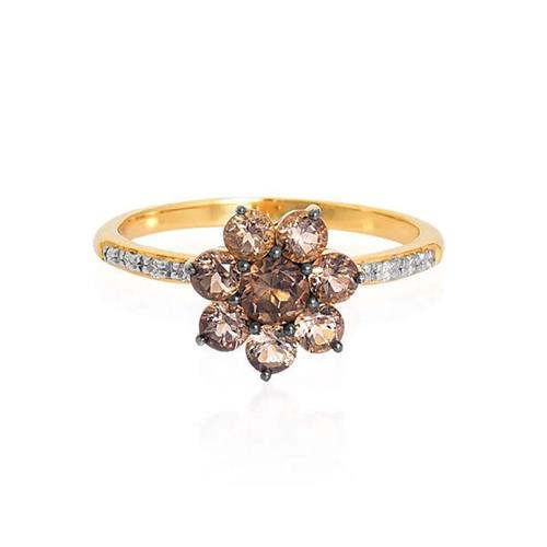 Anel de Ouro 18k com Quartzo e Diamante